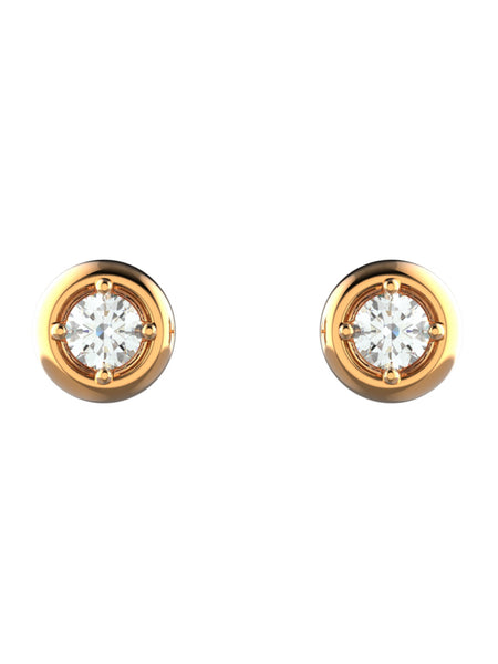 14K ROSE GOLD ROUND BRILLIANT STUD EARRINGS - araojewelry