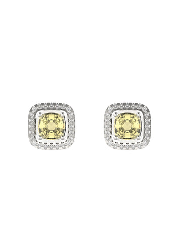 14K WHITE YELLOW GOLD CUSHION BRILLIANT DIAMOND STUD EARRINGS - araojewelry