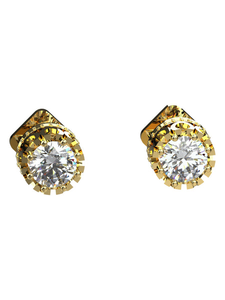 14K YELLOW GOLD ROUND BRILLIANT DIAMOND STUD EARRINGS - araojewelry