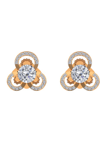 14K ROSE GOLD ROUND BRILLIANT DIAMOND STUD EARRINGS - araojewelry