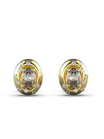 14K YELLOW GOLD OVAL BRILLIANT DIAMOND STUD EARRINGS