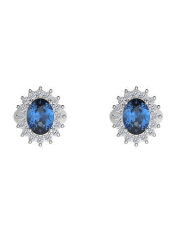 14K WHITE GOLD OVAL CUT DIAMOND STUD EARRINGS - araojewelry