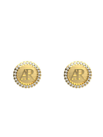 14K YELLOW GOLD AR DIAMOND STUD EARRINGS - araojewelry