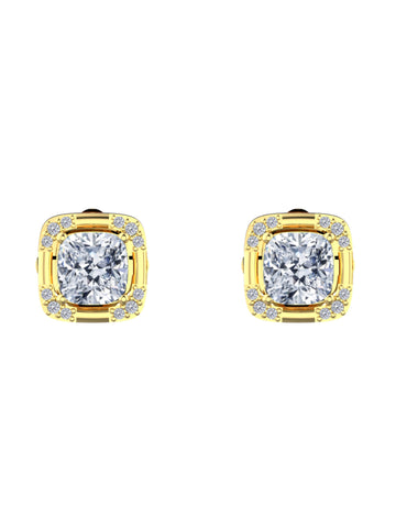 14K YELLOW GOLD CUSHION CUT DIAMOND STUD EARRINGS - araojewelry