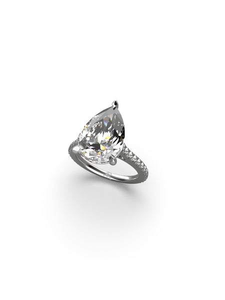 14K WHITE GOLD PEAR BRILLIANT DIAMOND RING