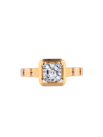 14K ROSE GOLD ASSCHER CUT DIAMOND RING - araojewelry