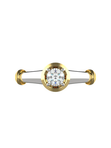 14K WHITE & YELLOW GOLD ROUND BRILLIANT DIAMOND RING - araojewelry
