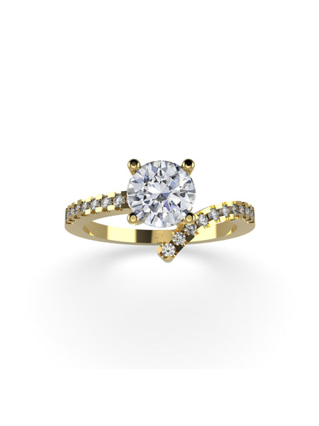 14K YELLOW GOLD ROUND BRILLIANT DIAMOND RING - araojewelry