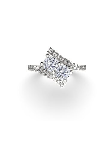 14K WHITE GOLD ROUND BRILLIANT DIAMOND RING - araojewelry