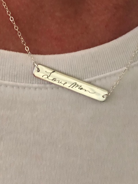 Engraved Custom Handwriting Bar Necklace