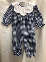 Blue and White Gingham Romper