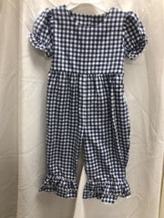 Navy and White Gingham Romper