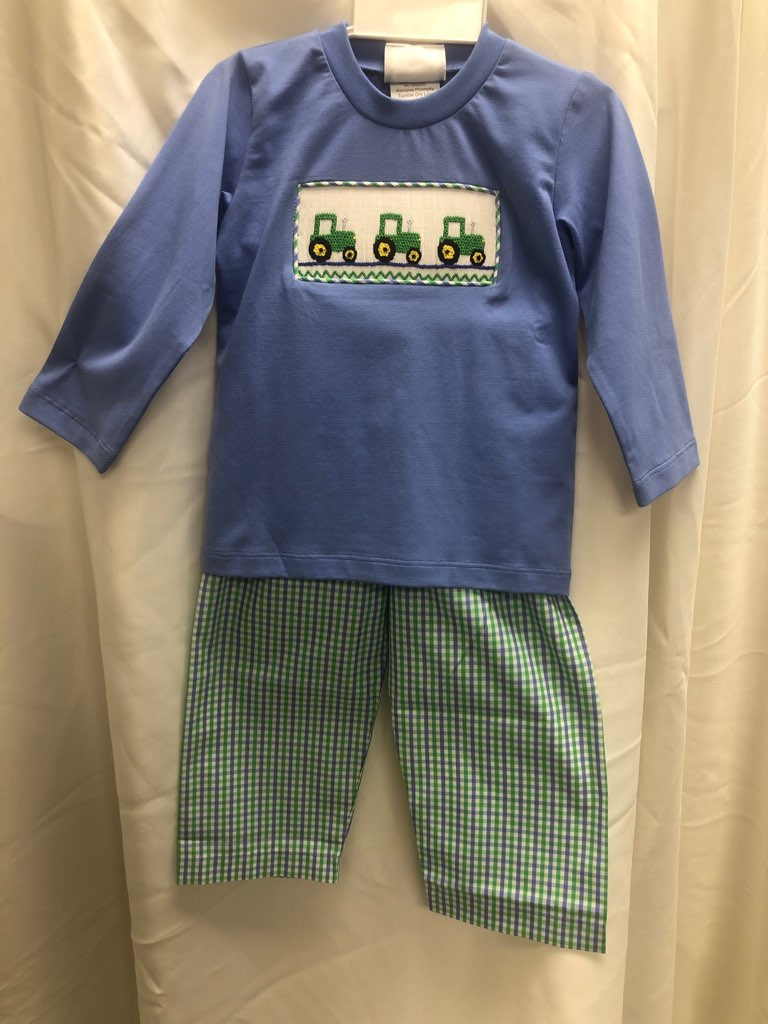 Smocked Tractor 2 pc