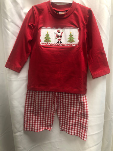 Christmas Tree Smocked 2 PC Boy Outfit