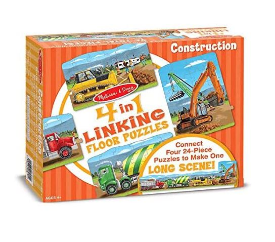 Melissa & Doug Construction 4-in-1 Jumbo Linking Jigsaw Floor Puzzle