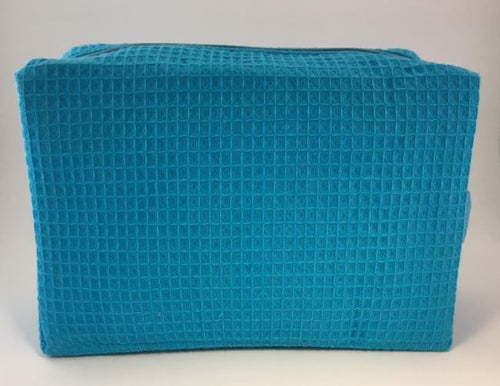 Embroidered Waffle Weave Cosmetic Bag