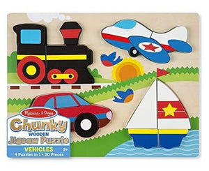 Melissa & Doug Vehicles Wooden Chunky Jigsaw Puzzle