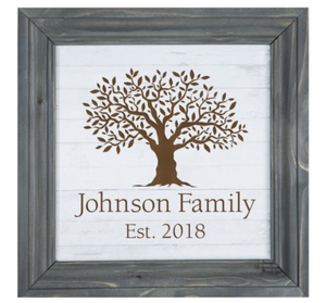 White Faux Wood Framed Sign - Laser Engravable