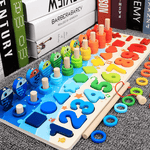 Montessori Math Puzzle Educational Toy with Wooden Blocks for Preschool Kids