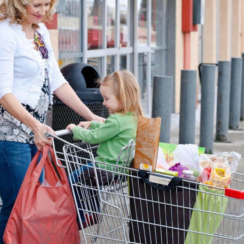 Savvi reusable shopping bag with groceries.