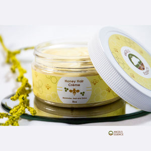 Our Honey Hair Creme, designed for natural hair and locs,  will add shine, soften and moisturize your curls. Created with only 5 ingredients to keep your hair healthy and seal in it's moisture. Mango Butter helps seal the hair.