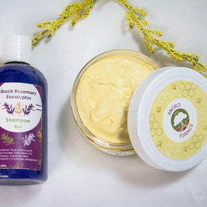 Set you wash day off right! Make your wash day routine amazing and enjoy both our (8 oz ) Honey Hair Creme and (8 oz) Black Rosemary Eucalyptus Shampoo by ordering this kit.  This kit will cleanse, moisturize, shine and soften hair.