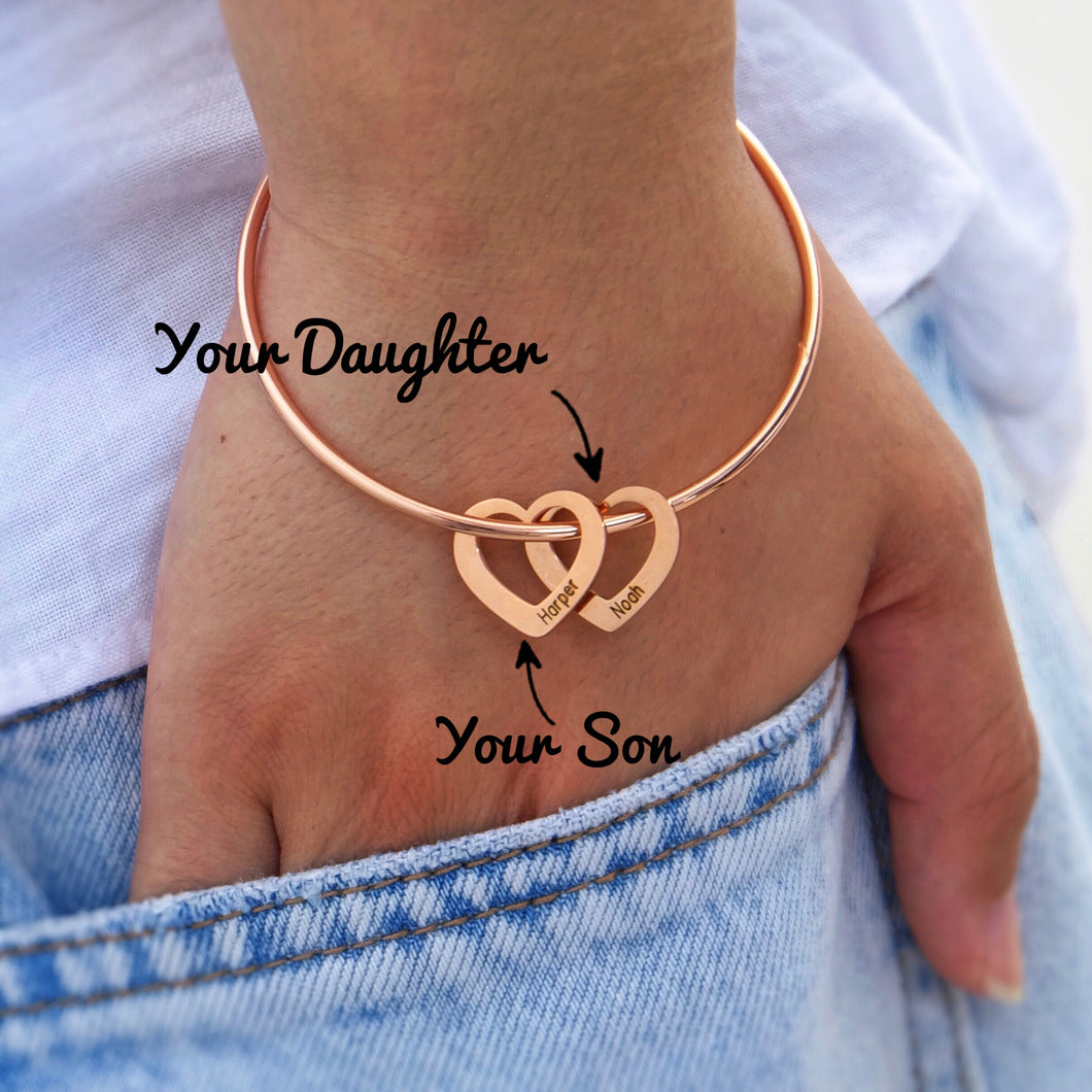 Bangle Bracelet with Heart Shape Pendants