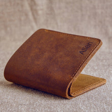 Load image into Gallery viewer, Customized men's leather wallet