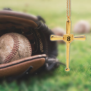 Personalized Engraved Baseball Cross Necklace
