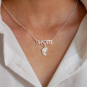 Mom and Baby Feet Necklace