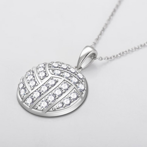 Custom Zircon Volleyball Initial Silver Necklace