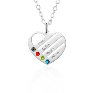 Birthstone Heart Necklace with Engraved Names