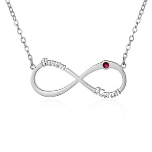 Infinity Name Necklace for Women with lucky stone
