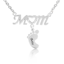 Load image into Gallery viewer, Mom and Baby Feet Necklace