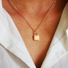 Load image into Gallery viewer, Lock Initial Necklace