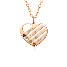 Load image into Gallery viewer, Birthstone Heart Necklace with Engraved Names