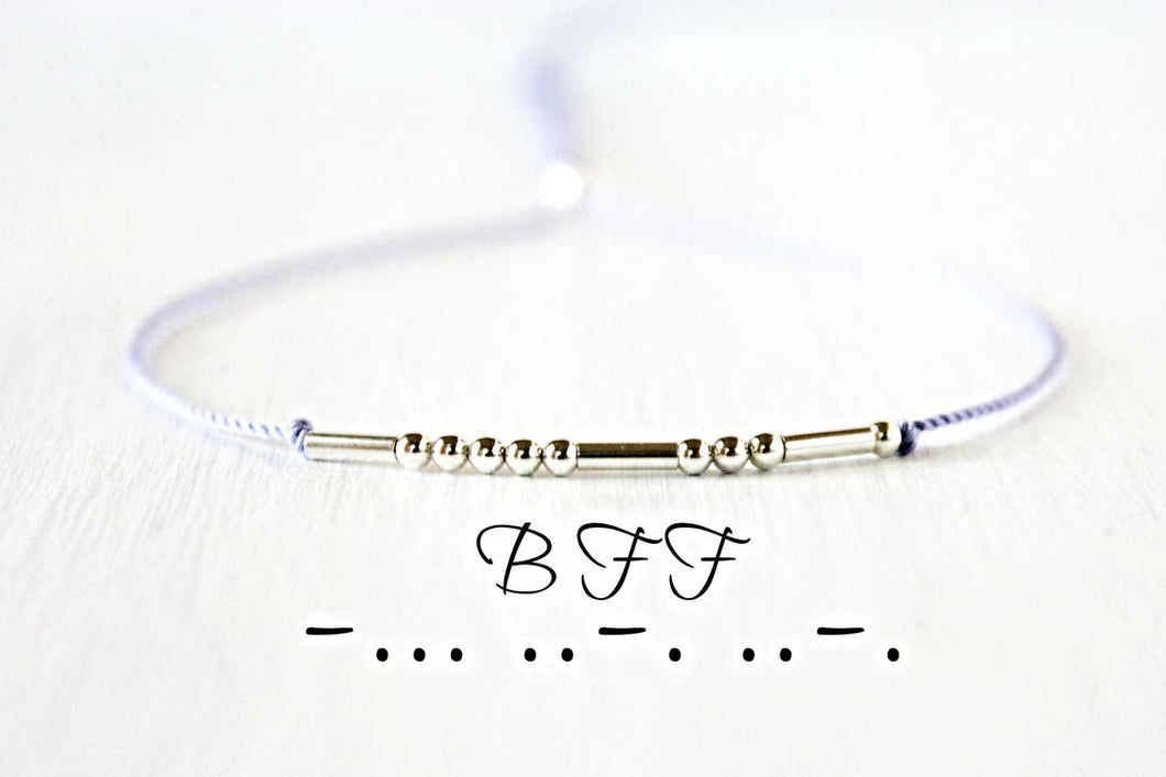 Customized Morse Code Bracelet In Silver