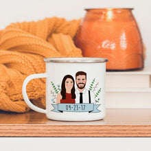 Load image into Gallery viewer, Couple Portrait Mug Set Personalized/His and Hers Mug/Long Distance Relationship Gift/Custom Portrait Gift From Girlfriend/Engagement Gift