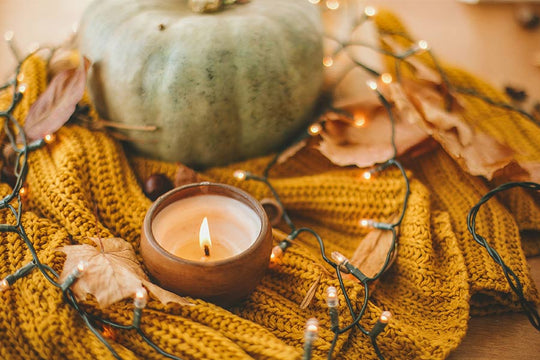Fall Candle with lights and pumpkin