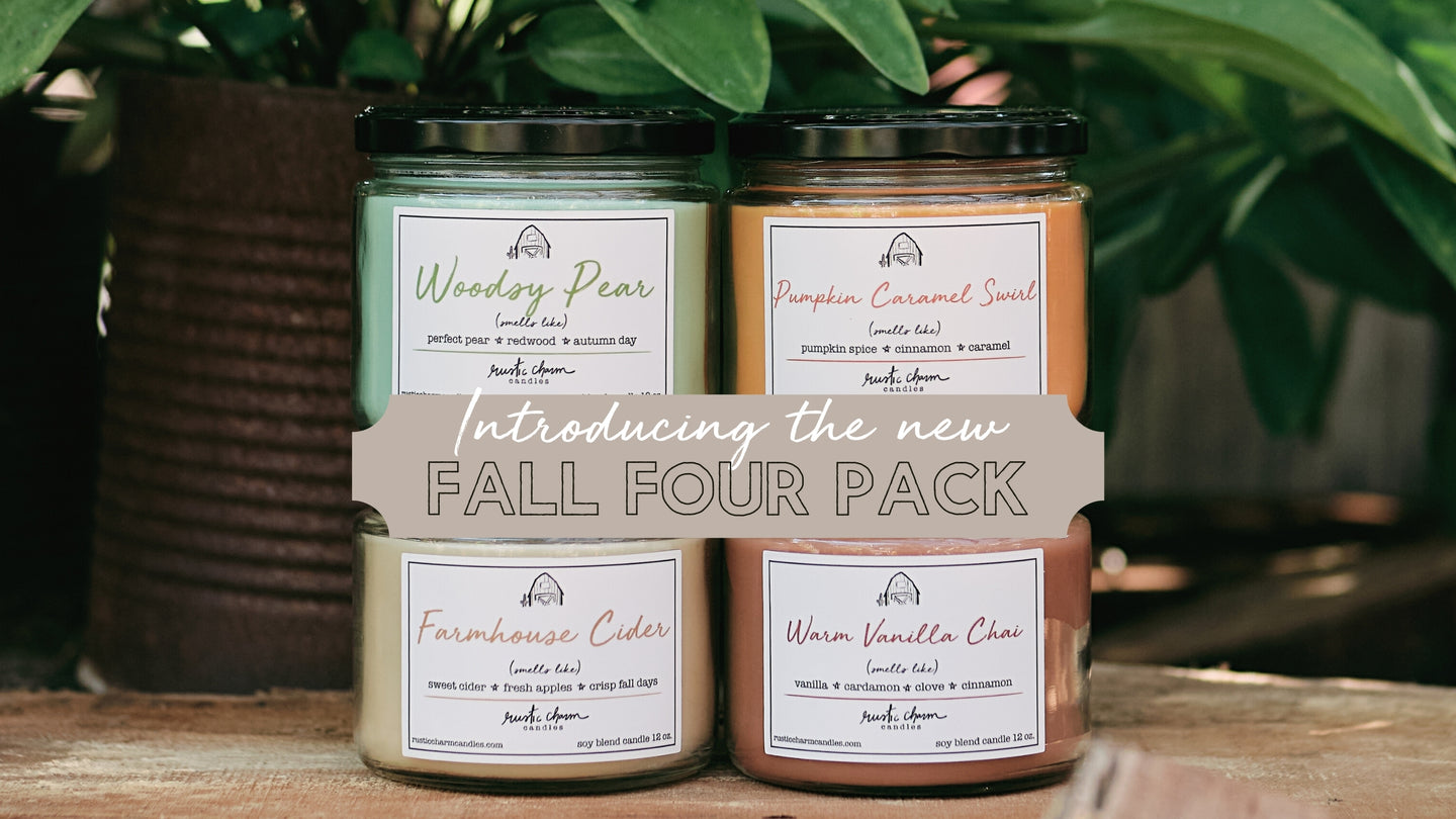 Introducing the new Fall Four Pack: Woodsy Pear, Pumpkin Caramel Swirl, Farmhouse Cider and Warm Vanilla Chai candles.