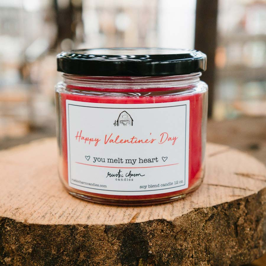 Rustic Charm Candles | 12-oz Scented Candle | Happy Valentine's Day (You Melt My Heart)