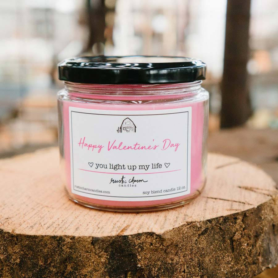 Rustic Charm Candles | 12-oz Scented Candle | Happy Valentine's Day (You Light Up My Life)