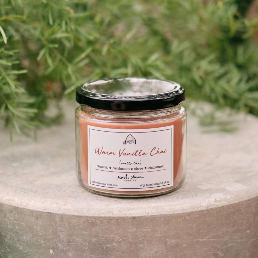 Rustic Charm Candles | 12-oz Scented Candle | Warm Vanilla Chai