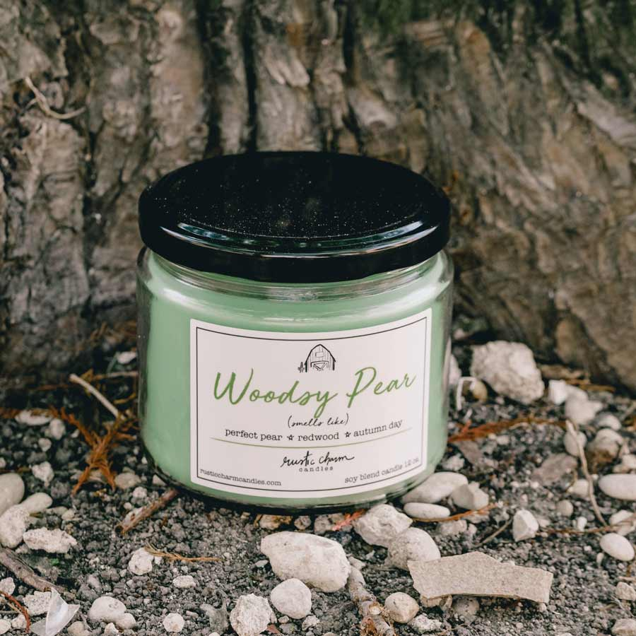 Rustic Charm Candles | 12-oz Scented Candle | Woodsy Pear