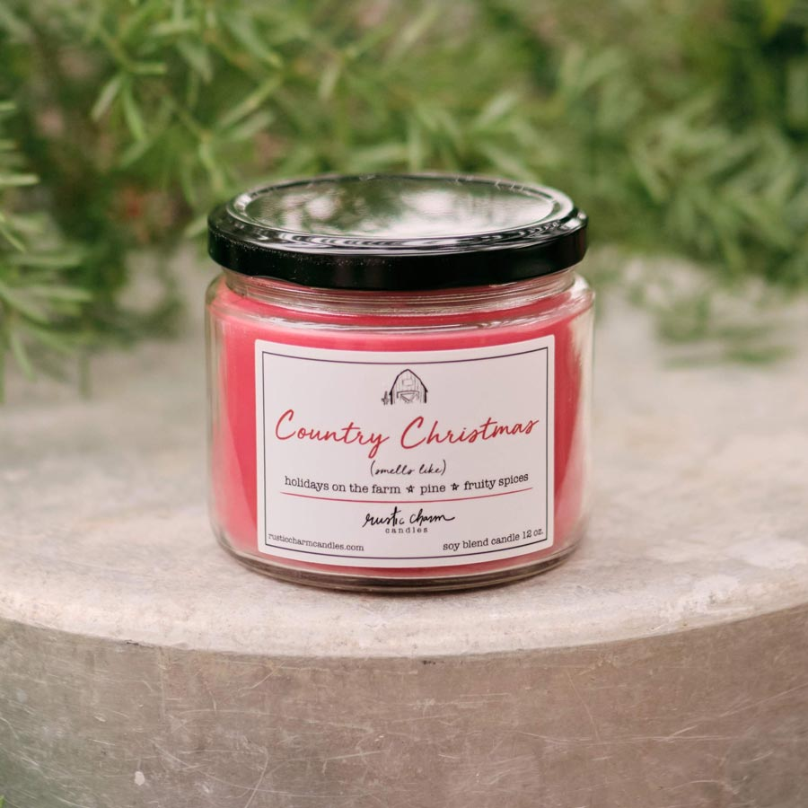 Rustic Charm Candles | 12-oz Scented Candle | Country Christmas