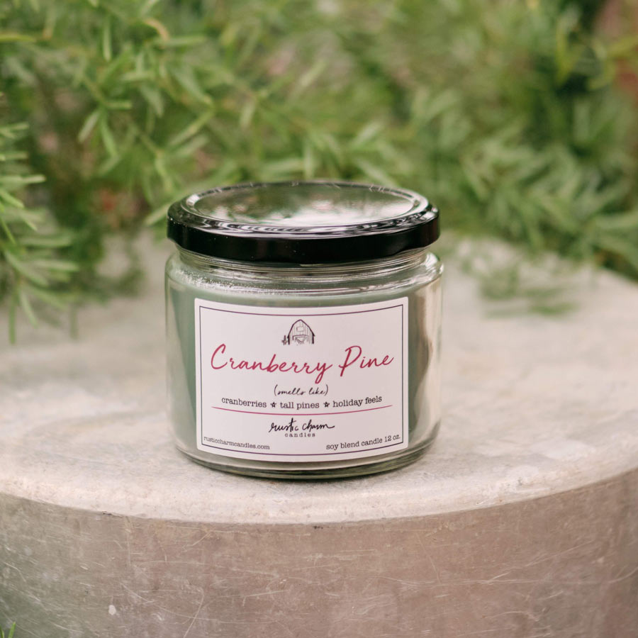 Rustic Charm Candles | 12-oz Scented Candle | Cranberry Pine