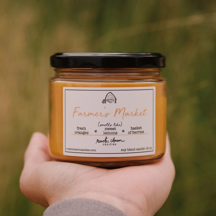 Rustic Charm Candles | 12-oz Scented Candle | Farmer's Market