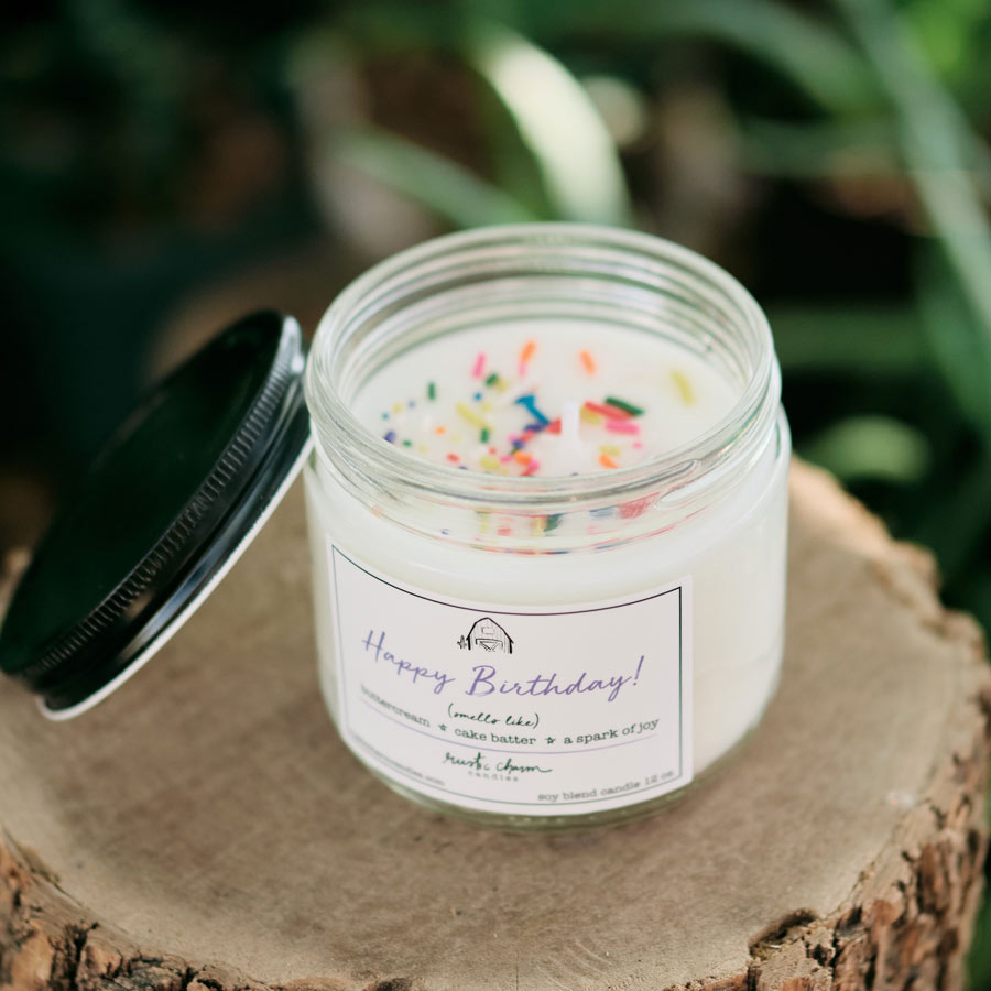 Rustic Charm Candles | 12-oz Scented Candle | Happy Birthday (Sprinkles)