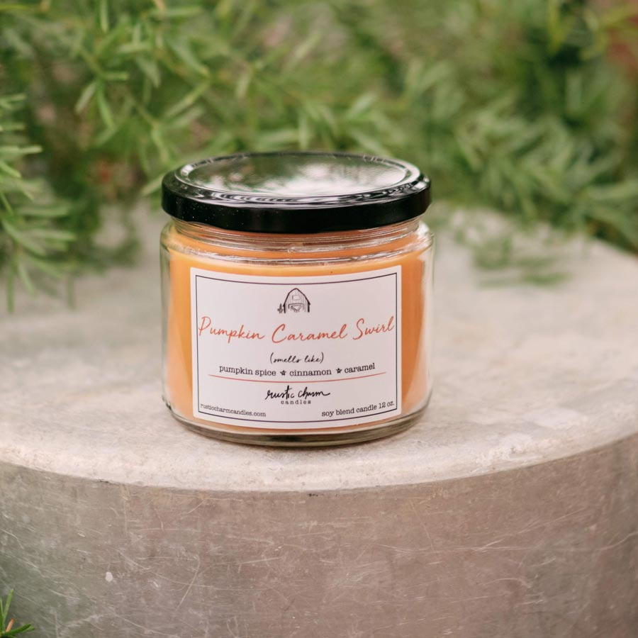 Rustic Charm Candles | 12-oz Scented Candle | Pumpkin Caramel Swirl