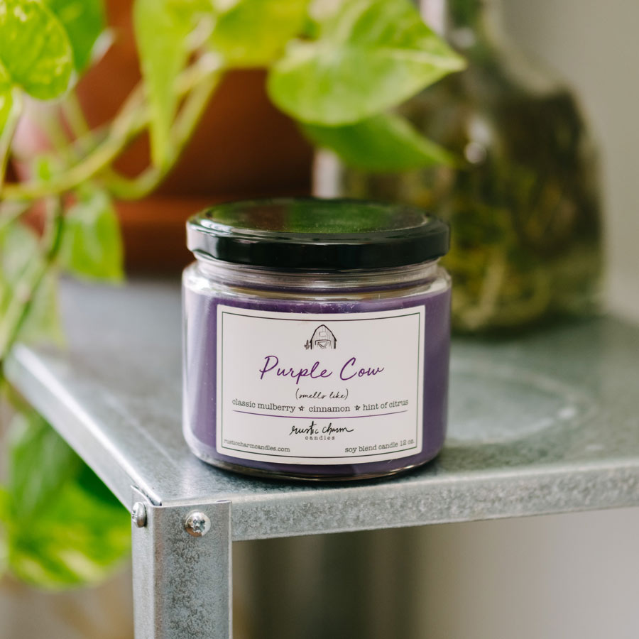 Rustic Charm Candles | 12-oz Scented Candle | Purple Cow